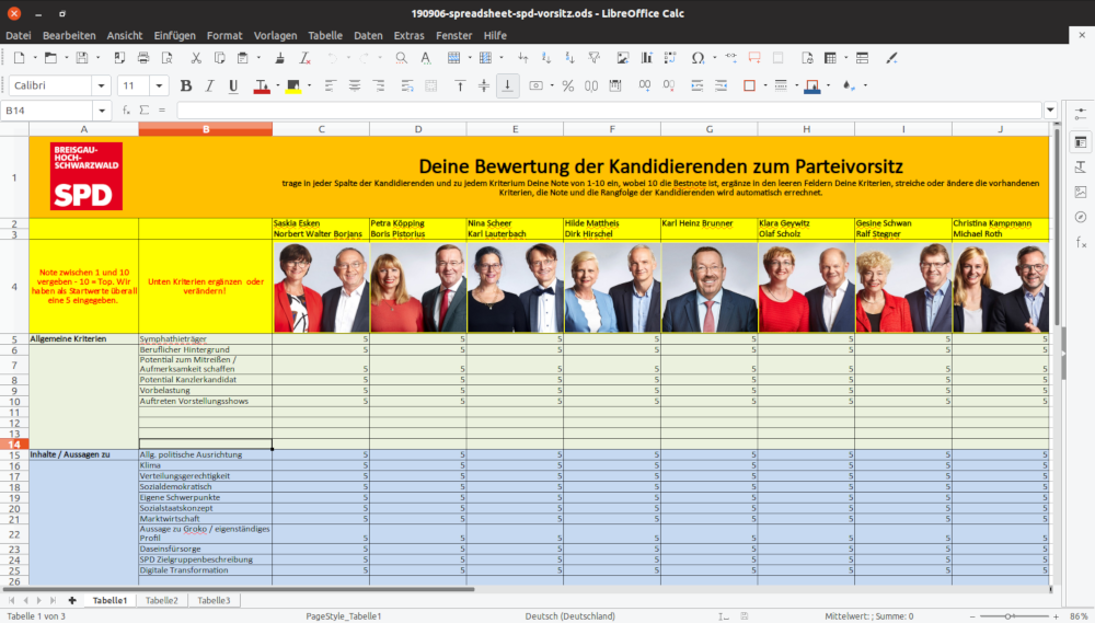 Screenshot Wahlhelfer-Spreadsheet