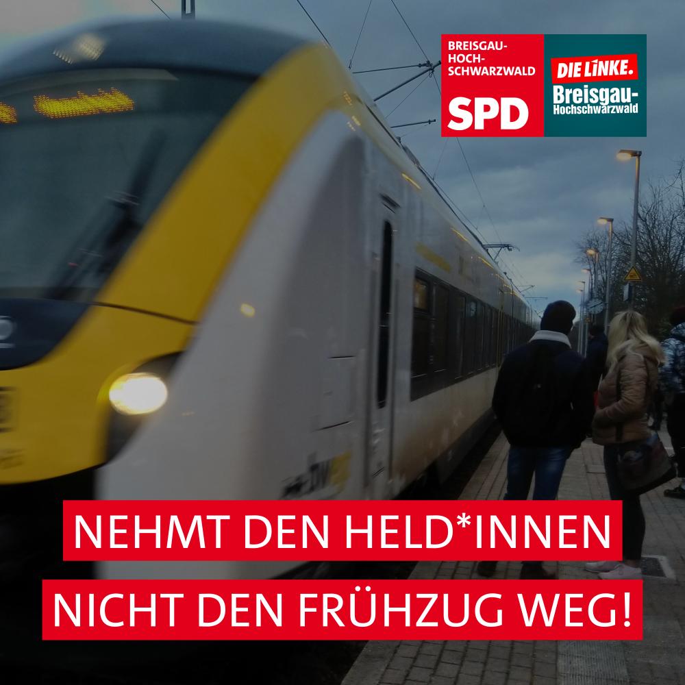 Sharepic: Foto der Breisgau-S-Bahn mit Slogan: Nehmt den Held*innen nicht den Frühzug weg!